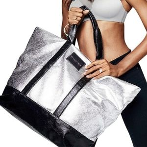 VS Metallic Silver XL Weekender Tote Bag